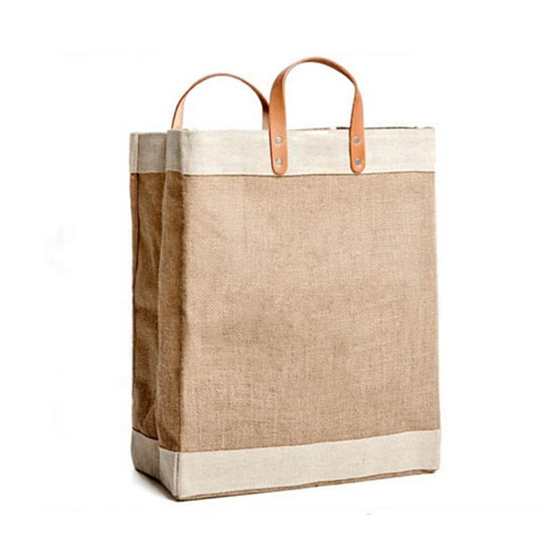 Wholesale Original Natural Large Laptop Shopping Travel Woman Lamination Hemp Jute Tote Bag With Leather Handle