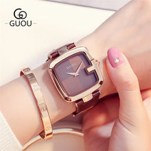 GUOU 8190 Women's Watches Square Fashion zegarek damski Luxury Ladies Bracelet Watches For Women Leather Strap Clock Saati