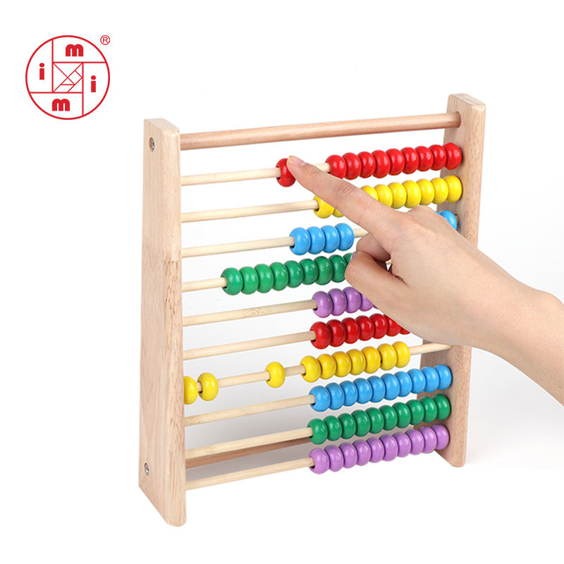 Math educational counting toys wooden beads abacus for kids
