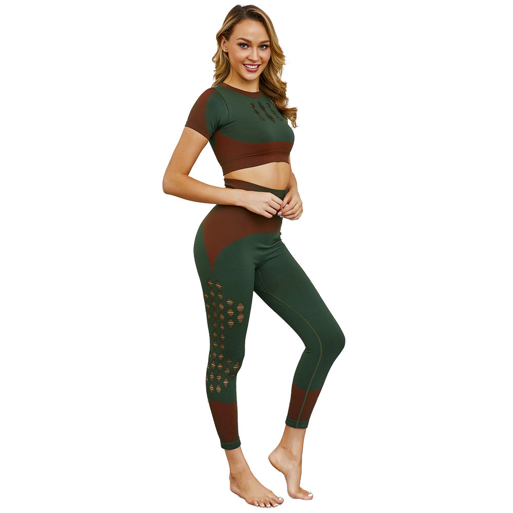European And American Hot-selling Knit Seamless Yoga Suit Sports Fitness Running Suit Ripped Leggings Suit