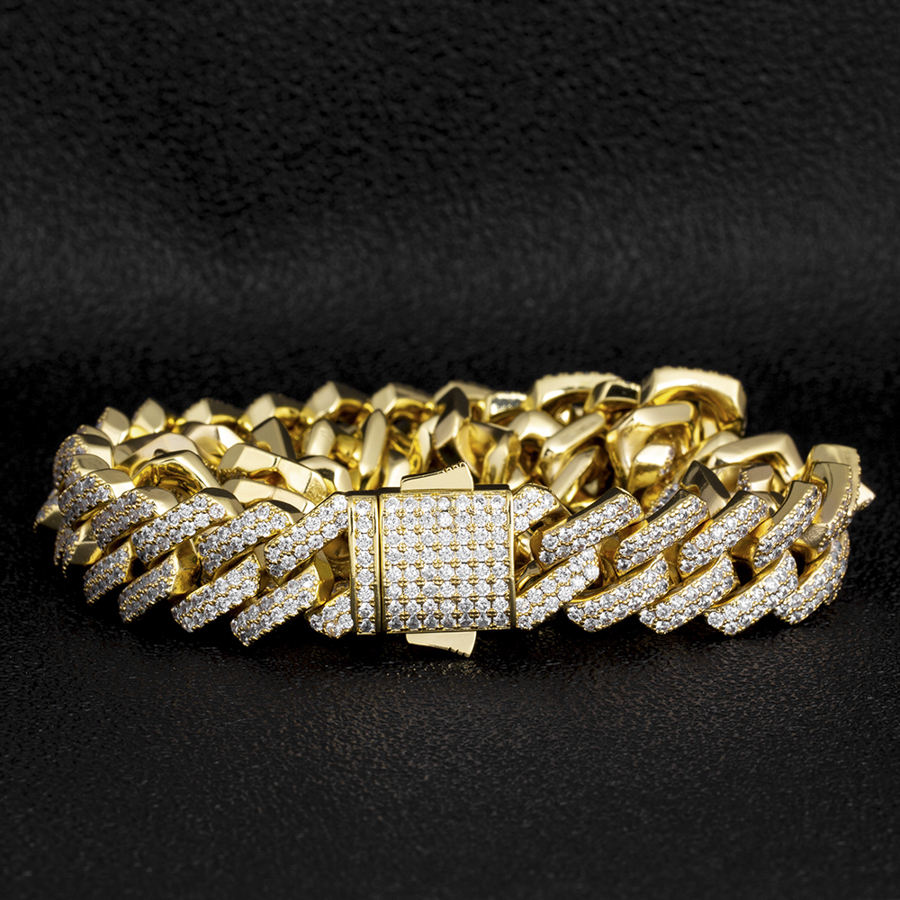 KRKC Wholesale Iced Out CZ Bracelet Cuban Link Chain Hip Hop 18k Gold Plated Men Diamond Jewelry Cuban Bracelet