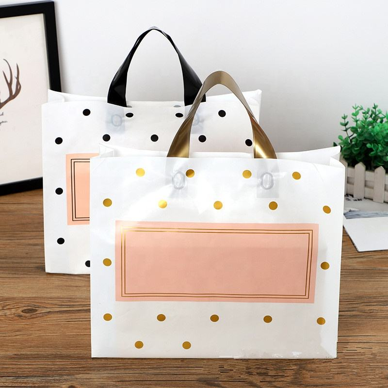 Custom Factory Price Eco-Friendly Dot Printed Recyclable Plastic Packaging Tote Bag Shopping Gift Bags with Handle