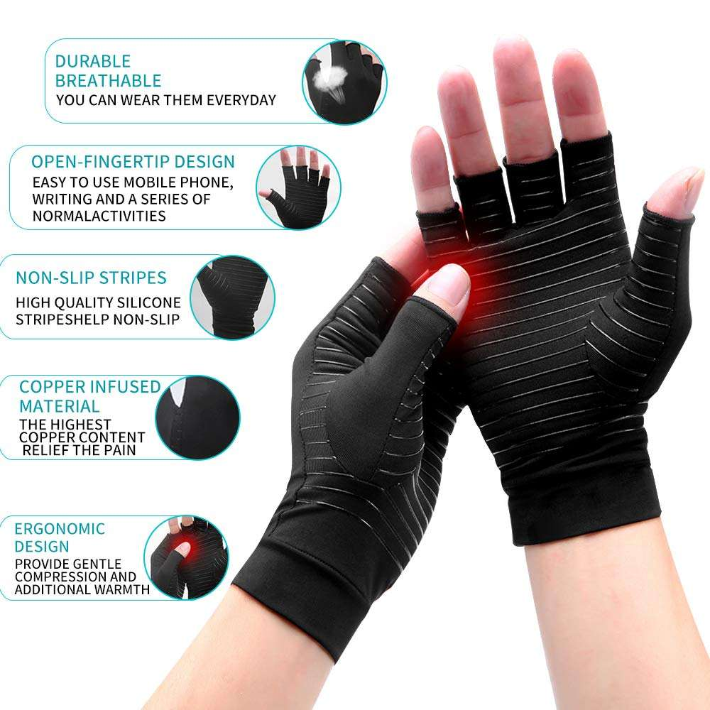 High Copper Infused Compression Gloves Half finger Copper Compression Arthritis Gloves for joint pain relief
