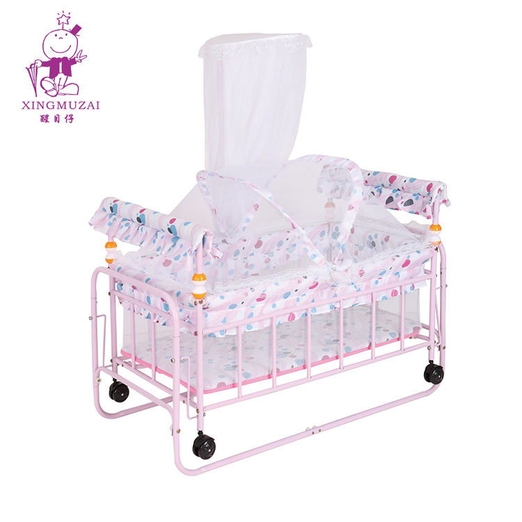 Portable Rocking Luxury Baby Cribs Swinging Adjustable Kids Crib Luxury Children Bed With Mosquito Net