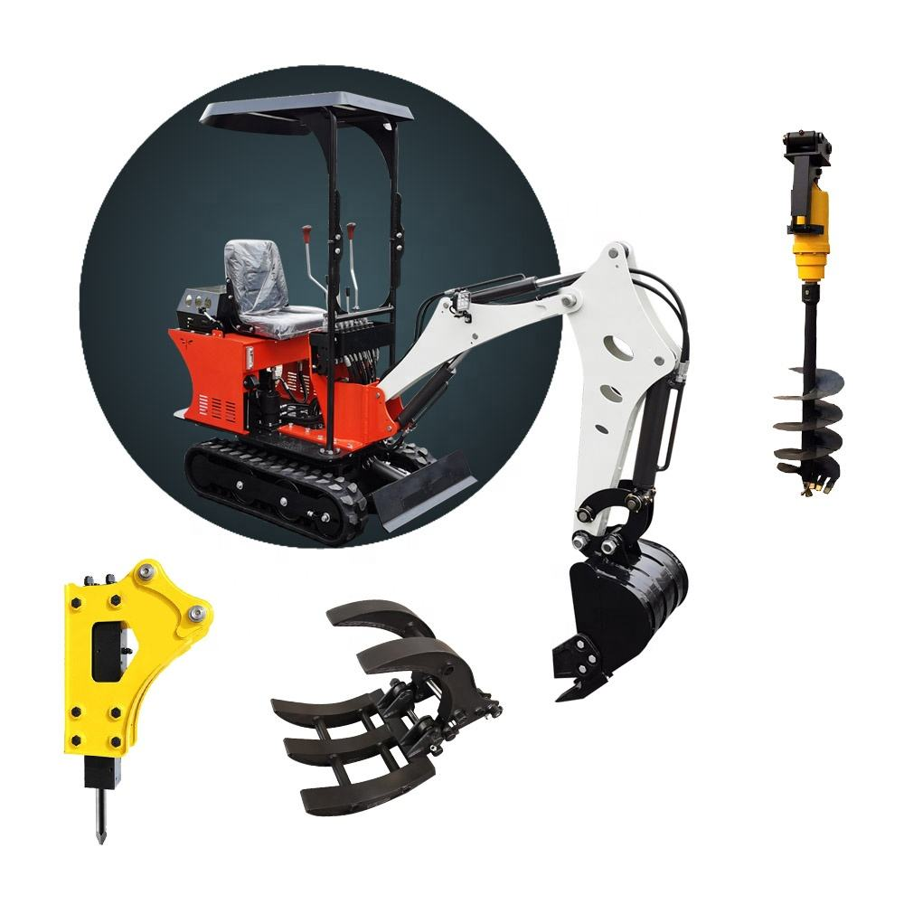 0.8ton Mini excavator rubber tracks mini excavator brush cutter with different accessories