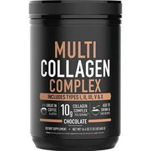 Multi Collagen Peptides Powder with 5 Types of Food sourced Collagen Great in Coffee Shakes or Almond Rice Milk Chocolate flavor