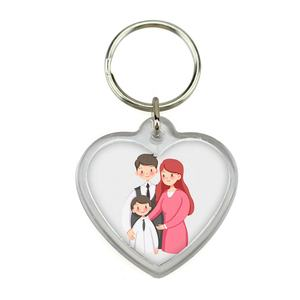 China Printing Customized Family Photo Name Logo Small Wedding Couple Love Gift Keychain For Guests