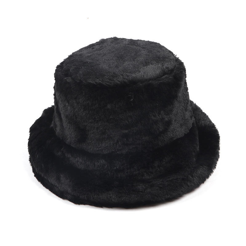 LRTOU Winter women Plain Faux Fur Bucket Hat Basin Hat Warm Thickened Fashion Hat