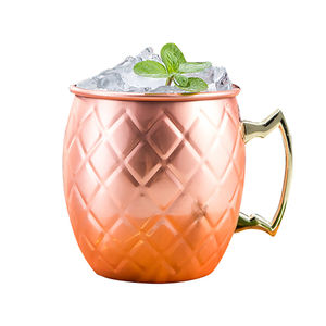 Amazon Hot Sale 2020 Home Bar Drinkware Copper Plated Cocktail Cups 304 Stainless Steel Mug 16oz Copper Beer Moscow Mule Cup