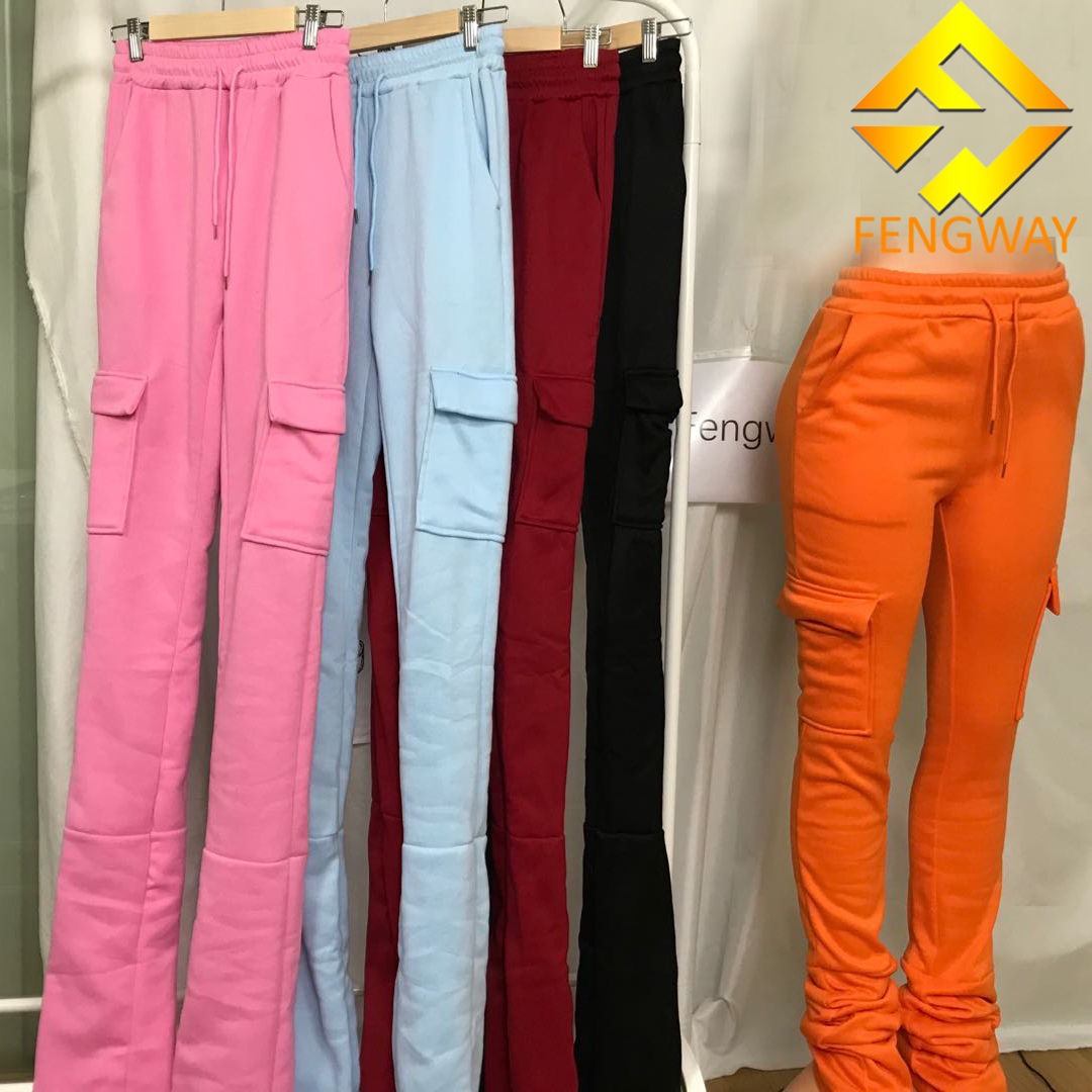 S-2xl Custom Mid包帯Pleated Pockets Natural Super Long Cotton Flare Pants Woman Fleece Thick Stacked Sweat Pants