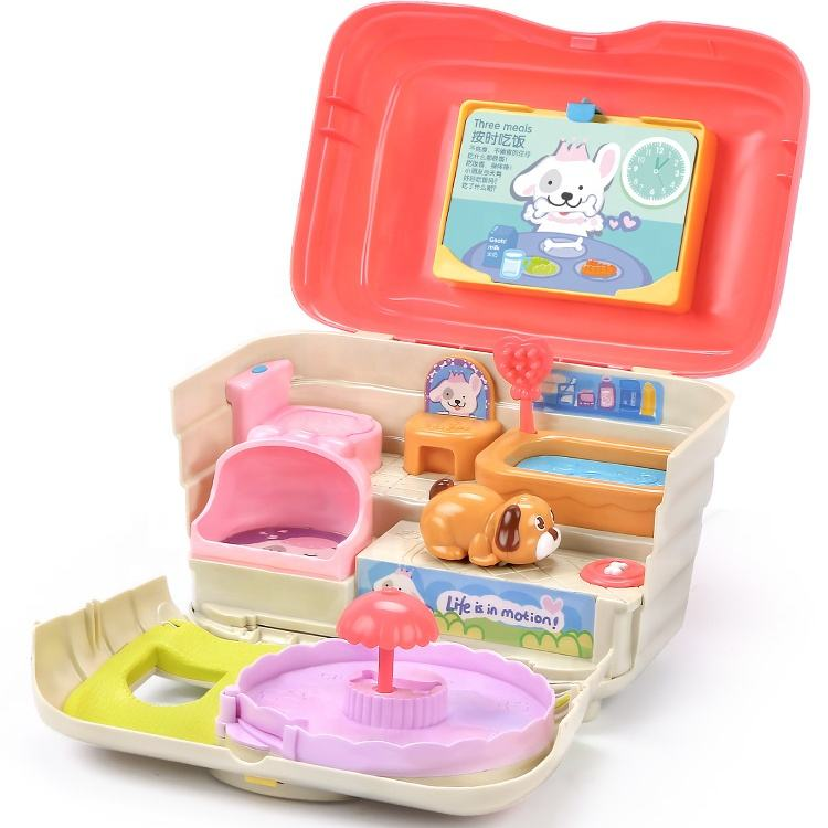 portable handlebox educational toys baby motion sensor game pretend play dog pet house with music