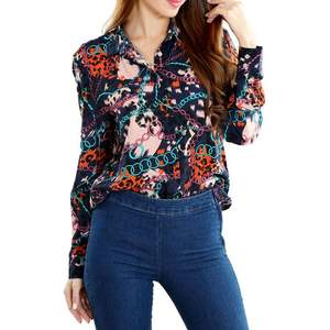 2020 Hot Sale Floral Print Blouses Shirts Tops Women Shirts Regular Fit Long Sleeve Shirts for Ladies