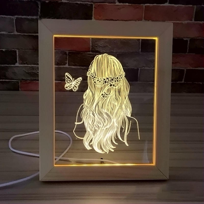 Amazon Top Seller 3D Visual LED Lamp Natural wood Photo Frame Base 3D Illusion Night Light For Acrylic Board