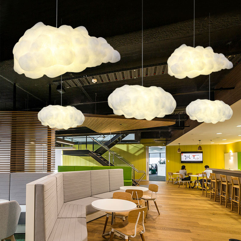 Geovancy lampadario polymer material LED E27 bulb modern white cloud chandelier light / cloud pendant lamp