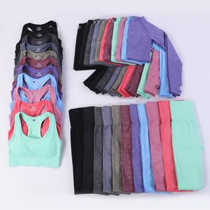 Popular Seamless Yoga Suit 5 piece Sports Shirts Crop Top Leggings Gym Clothes Fitness Tracksuit Workout Set