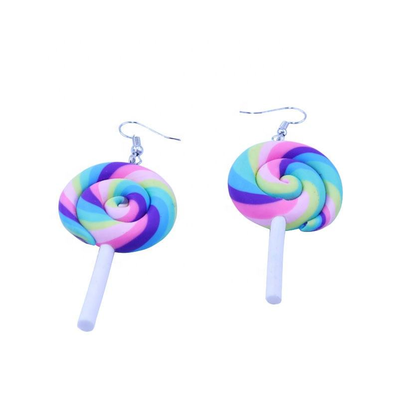 Hot Sale Lovely Polymer Clay Lollipops Drop Earrings for Women