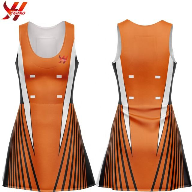 Sublimation korbball röcke polyester stoff feuchtigkeit wicking nach muster plus größe slim fit netball röcke tennis kleid