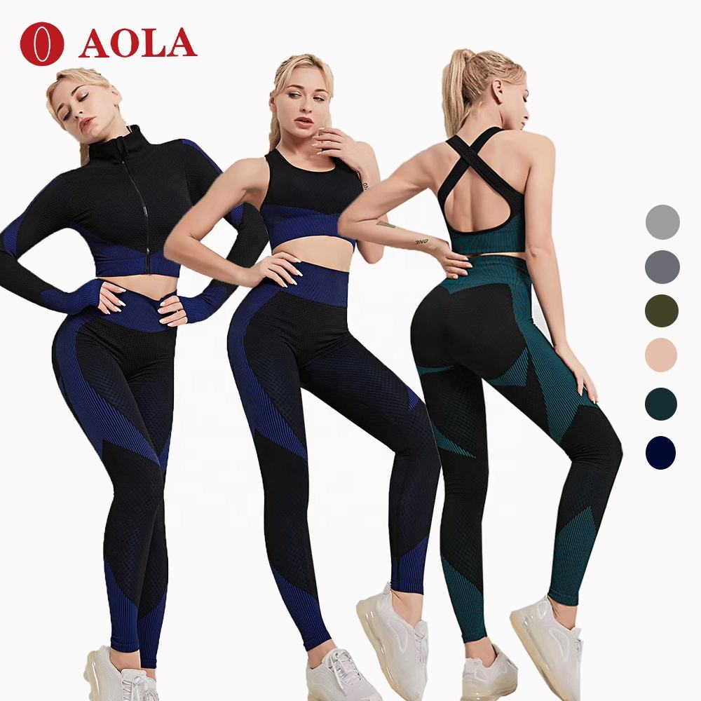 AOLA Gym Wear 2020 Yoga Workout Xl Bra And Leggings 2 Piece Women Set Sport