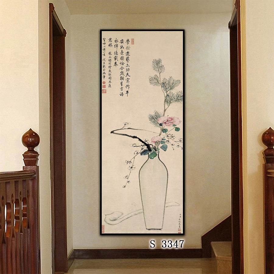 Fine Art Printing Modern Canvas Art Framed Traditional Chinese Ink Flower Painting Prints