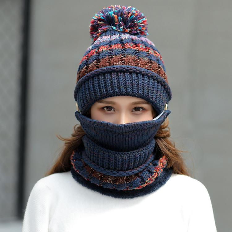 2020 Hot Sale Winter Knitting Hats Scarf mask Riding Multicolor Wool Hats Woman Beanies Hats L0399