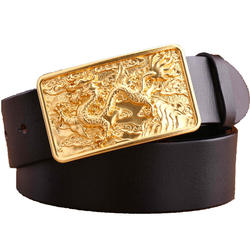 Men's Business Casual Leather Belt Head Layer Cowhide Belt With Dragon Copper Buckle