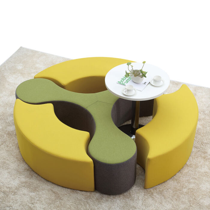 Luxury Sectional Modern Hotel Furniture Round Fabric Lobby Sofa