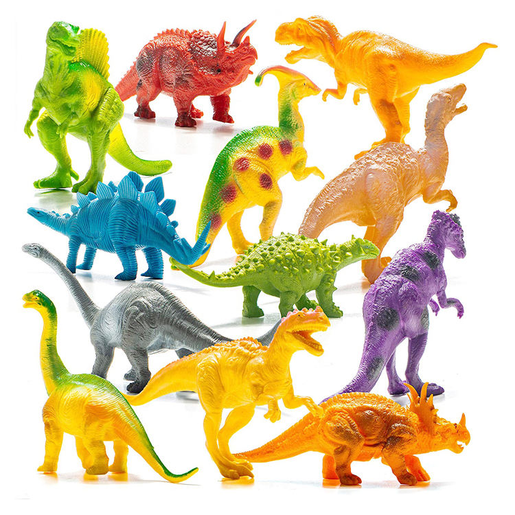"Realistic Looking 7"" Dinosaurs Pack of 12 Large Plastic Assorted Dinosaur Figures"