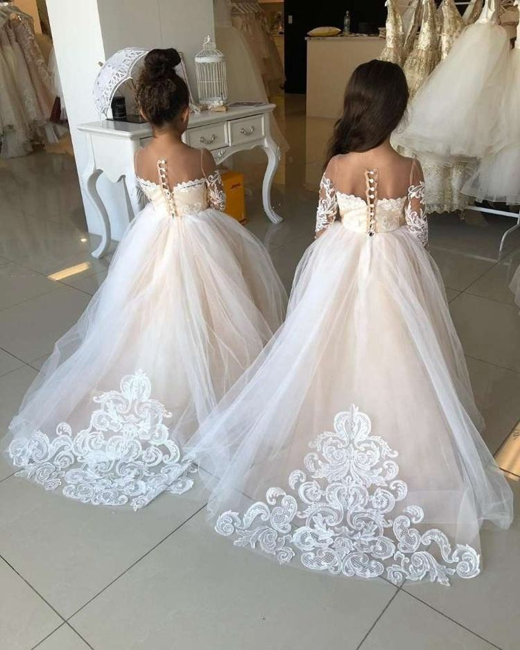 FANWEIMEI#7221 Long sleeve Illusion salmon Lace Lovely Wholesale Wedding Flower Girl Dress cheap good