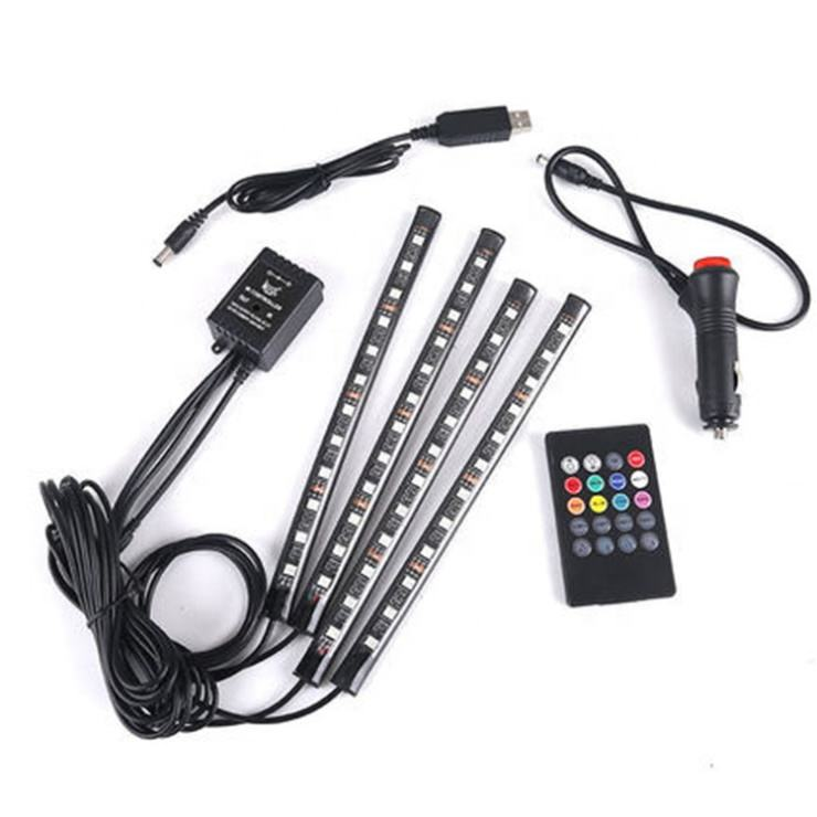 4pcs car foot well Interior Atmosphere 12 LED 5050 RGB SMD Flexible led strip lights for car