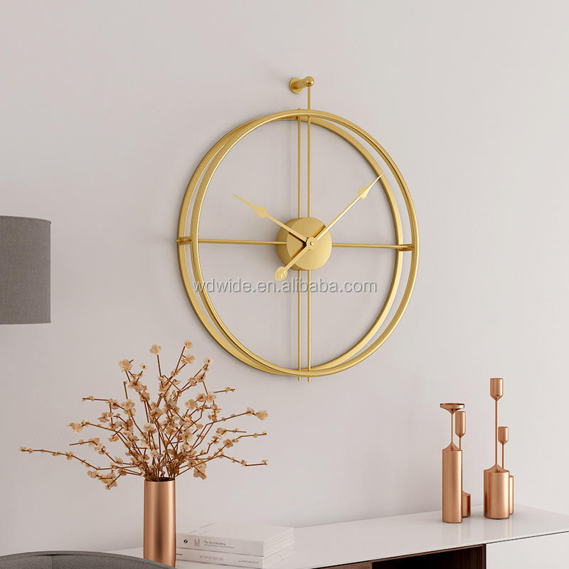 High quality fashion home minimalist decorative handmade gold metal hanging wall clock