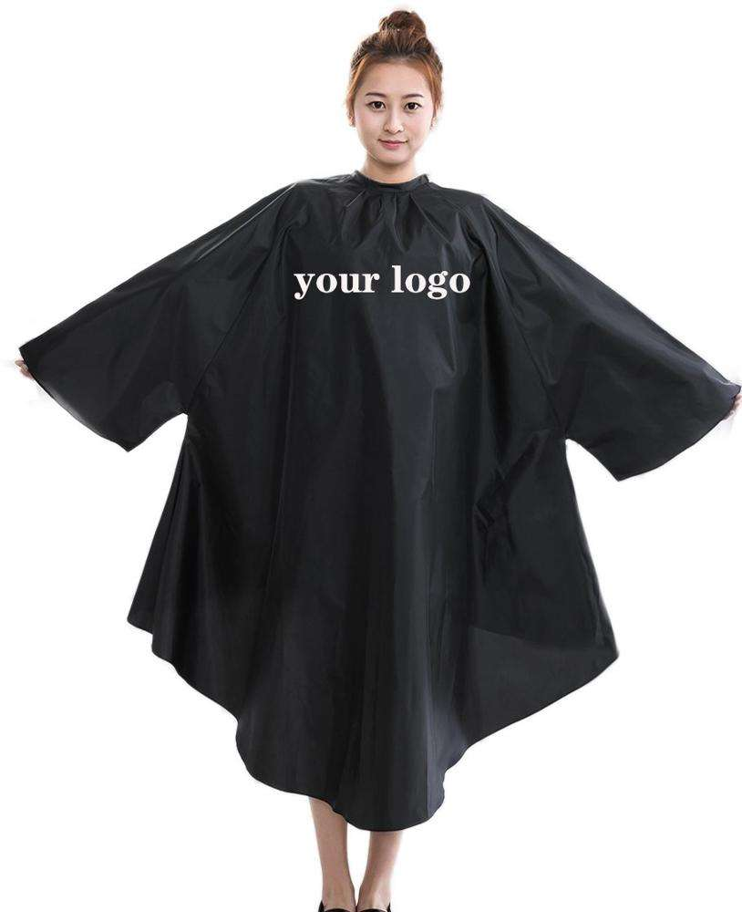 wholesale black long sleeves print custom barber hairdresser hair cutting cape