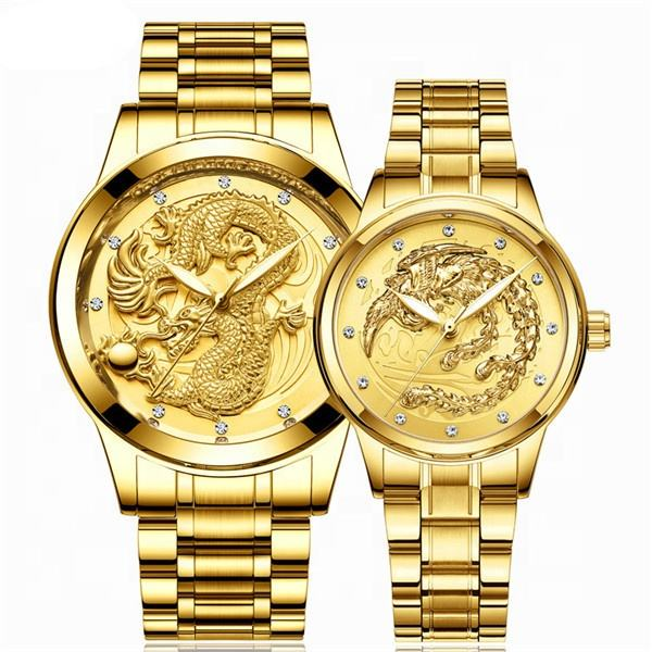 Top Brand Chinese Manufacturer Shenzhen Lovers Watch Quartz Gold Dragon Montre Couple watch