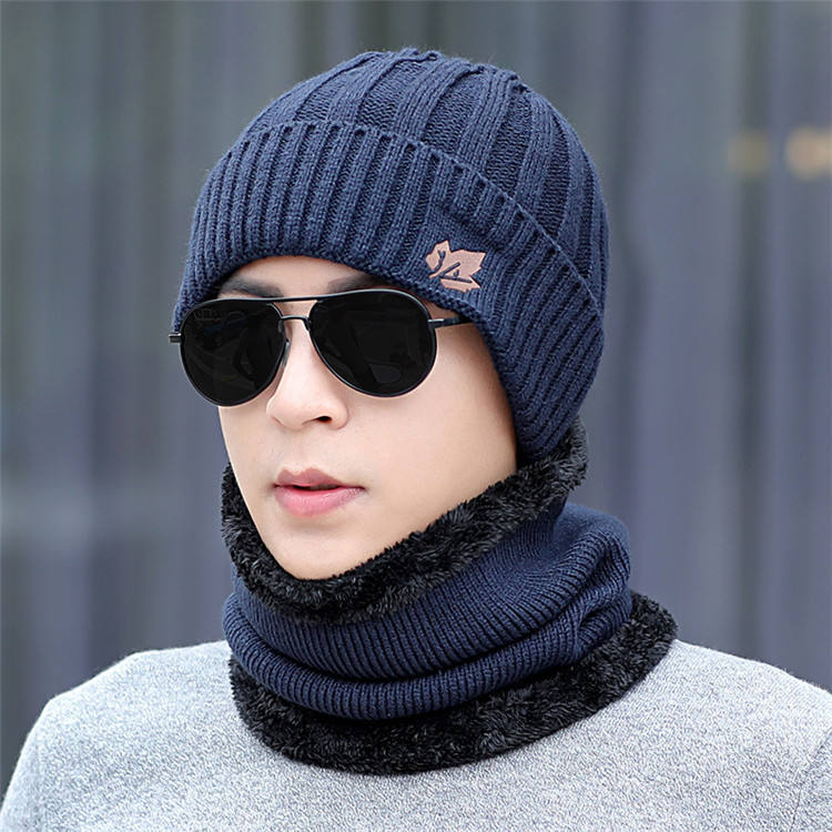 New fashion design warm winter hat outdoor hat and scarf set