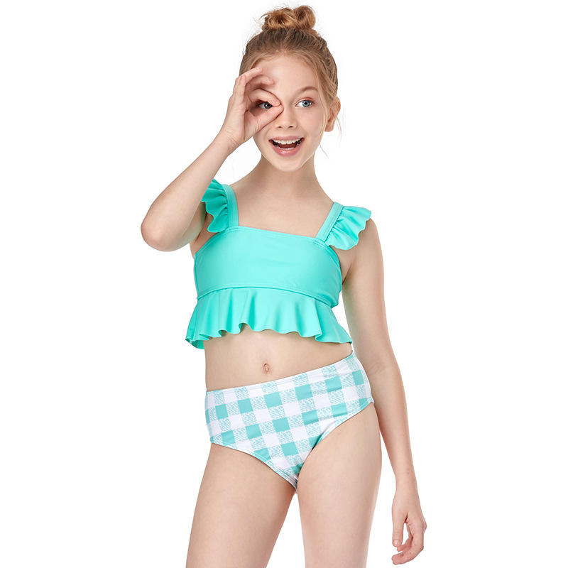 2021 Plaid Cute Ruffle Bikini Set Manufacturers Rkids Swimwear Ed Summer Kids String 2 Piece Latex Bikini Set