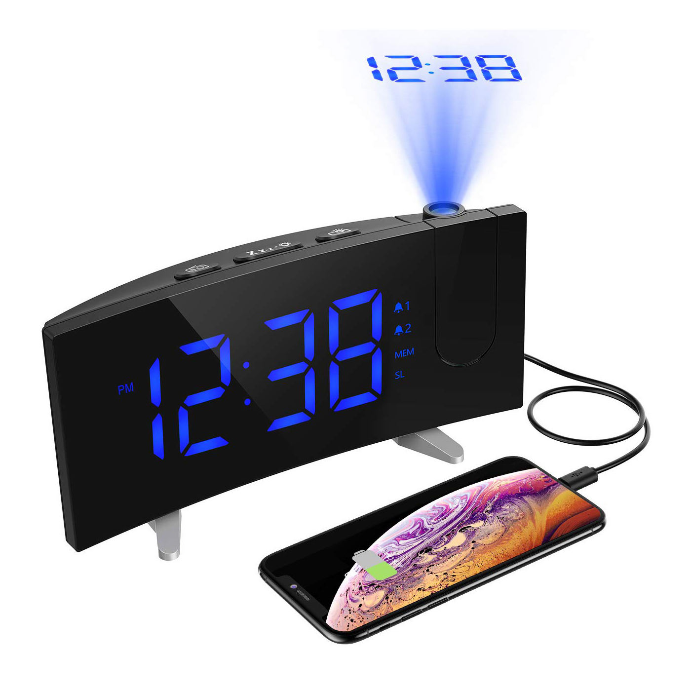 2019 New FM Radio Projection Alarm Table Clock Sleep Digital LED Clock with USB Charger