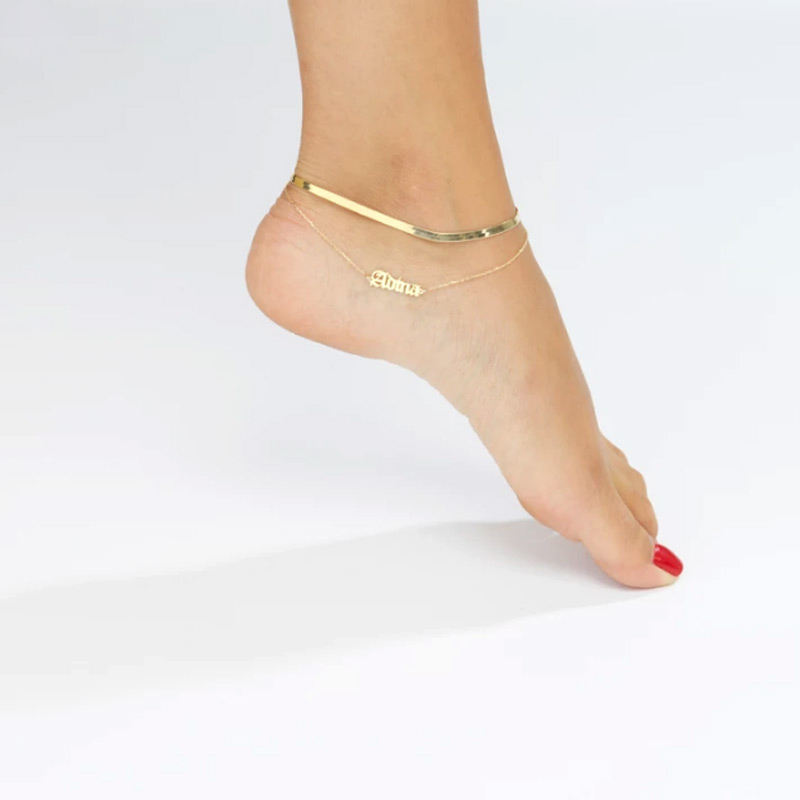 Fashion Anklets Foot Jewelry Design Stainless Steel Gold Plated Snake Chain Anklet for Women