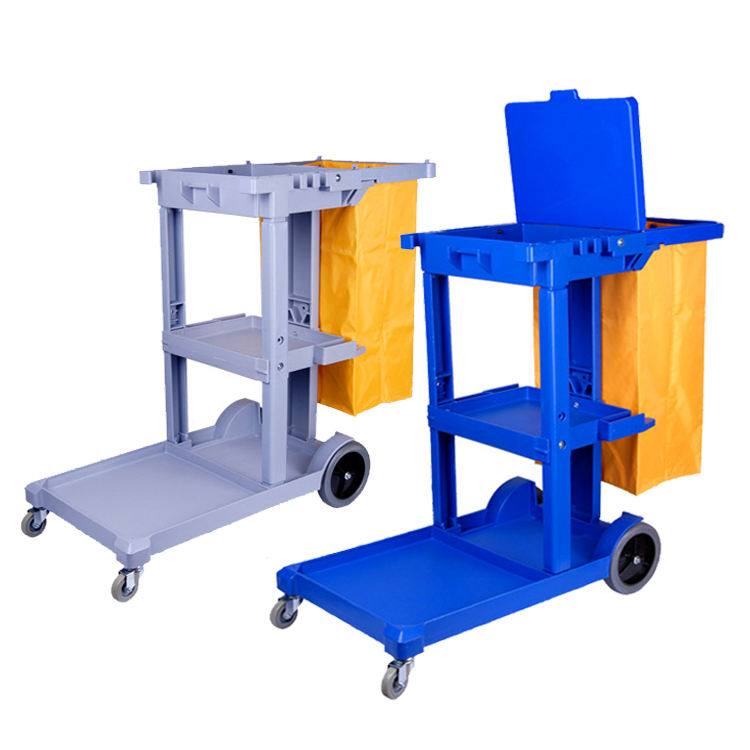 Custom size price multi function linen cleaning trolly plastic janitorial cart hotel room service trolley supplies
