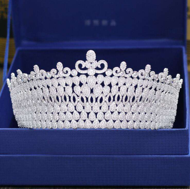 Rakol APHAN149 Luxury Tiaras And Crowns AAA CZ Zirconia Princess Pageant Engagement Wedding Hair Accessories Bridal Jewelry