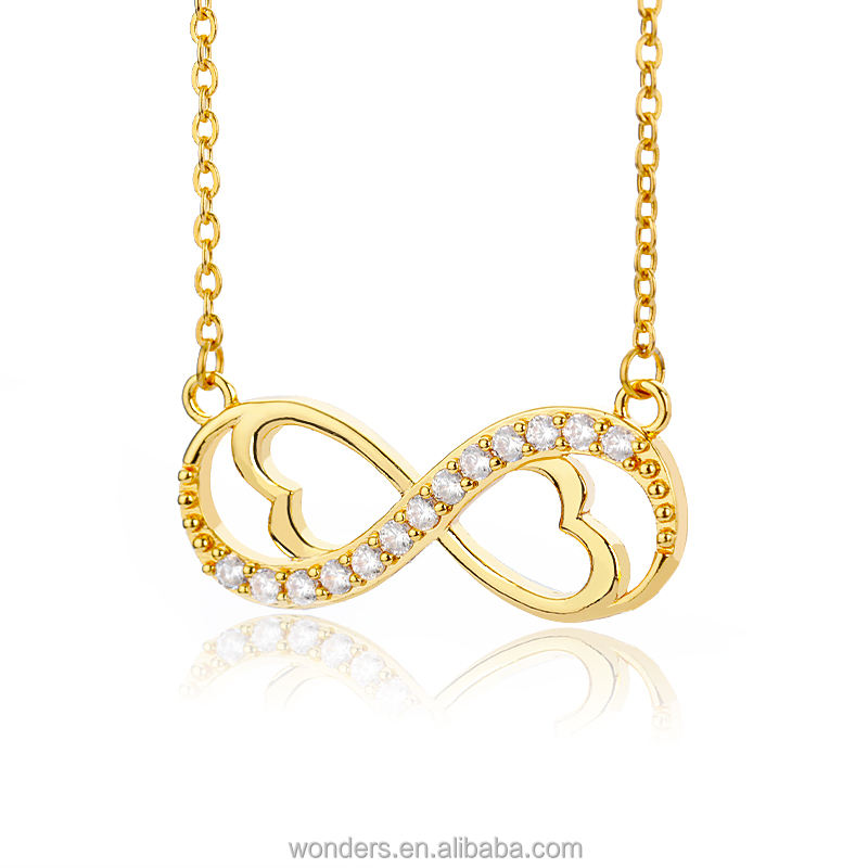 Moederdag Infinity Liefde Hart Hanger <span class=keywords><strong>Ketting</strong></span> Zirkoon Dainty <span class=keywords><strong>Ketting</strong></span> Gold 18K Plated Fashion Vrouwen Sieraden