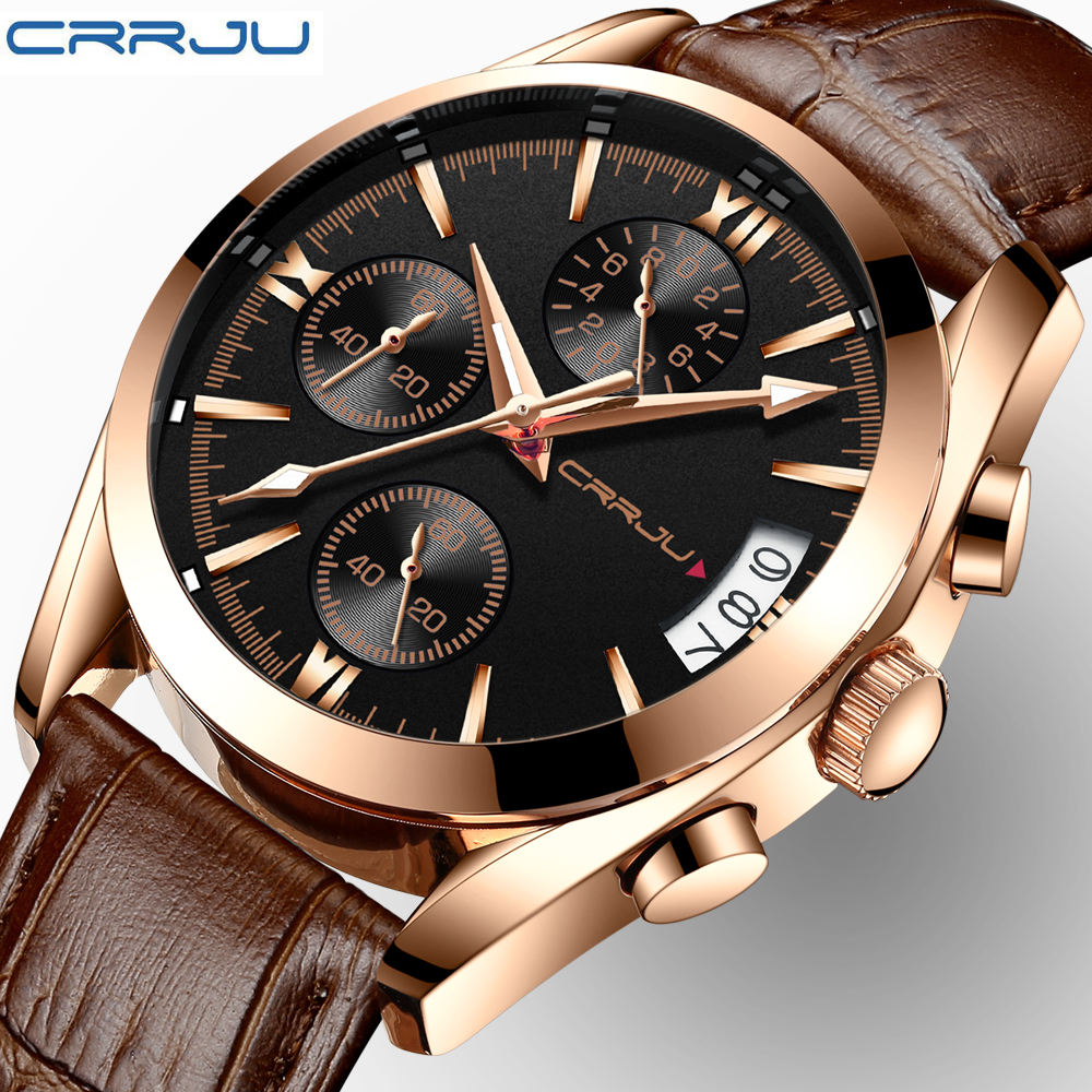 CRRJU 2217 trending no brand mens quartz watch potty Genuine Leather Strap Waterproof Chronograph all type sports watch design