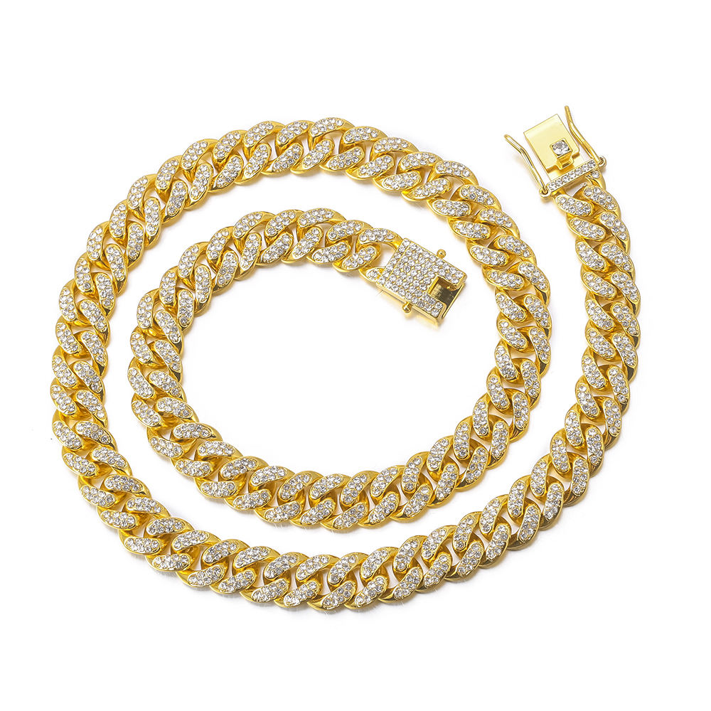 18K Gold Finish Iced Out Hip Hop Cz Miami Cubaanse Collier Dikke Miami Cubaanse Link Chain Hip Hop <span class=keywords><strong>ketting</strong></span>