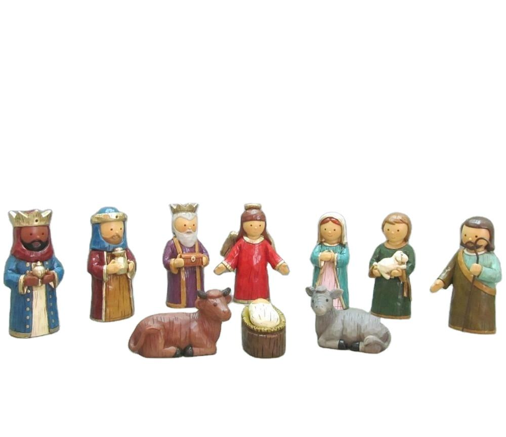 New Design Resin China Produced Pvc Blister packing Cute Min Christmas Crib Nativity Set For Home Decoration
