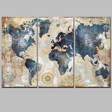 Modern printed canvas wall decoration Posters 3 Panel world map canvas wall art