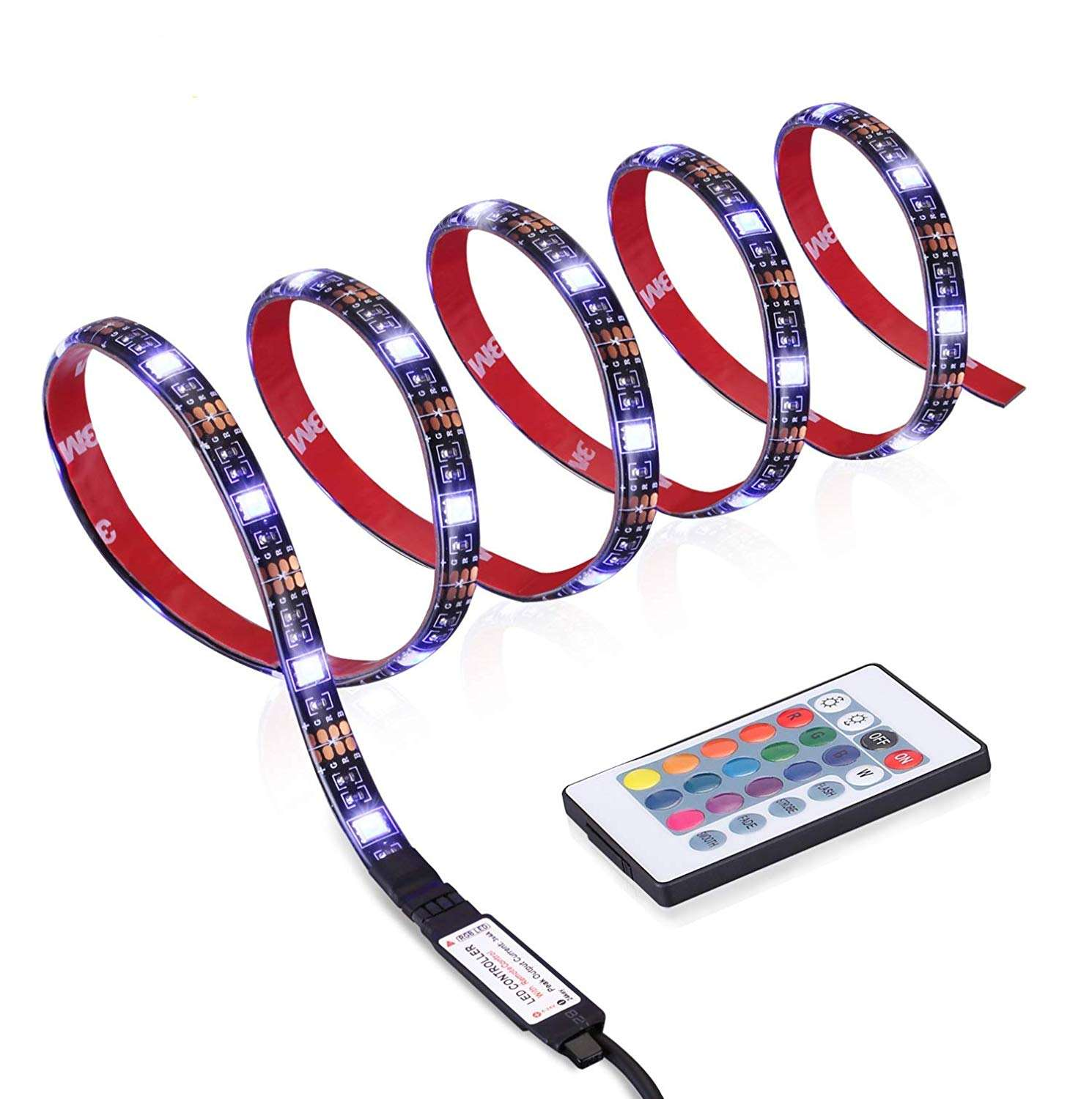 Smart LED 1M 2M 3M 4M 5M 5050 DC5V IP65 Flexible RGB TV Backlight kit USB led Strip Light with 24 Key IR Remote Controller