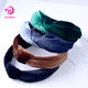 China Factory Wholesale High Quality Girls Hairband Velvet Wide Headbands Cross Knotted Hair Bands