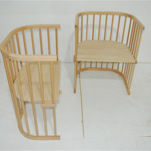 Customized good quality nature eco-friendly kids beds children table and chair mobile convertible wooden round baby bed