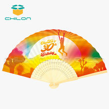 Personalized custom printed bamboo paper folding hand fan
