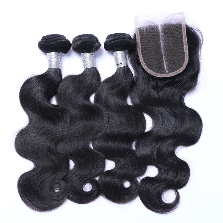 100% Braziliaanse virgin Remy Human hair Double Drawn body wave weave bundels met sluiting