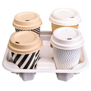 100% Compostable Bagasse 4-Cup Tray Biodegradable Cup Holder