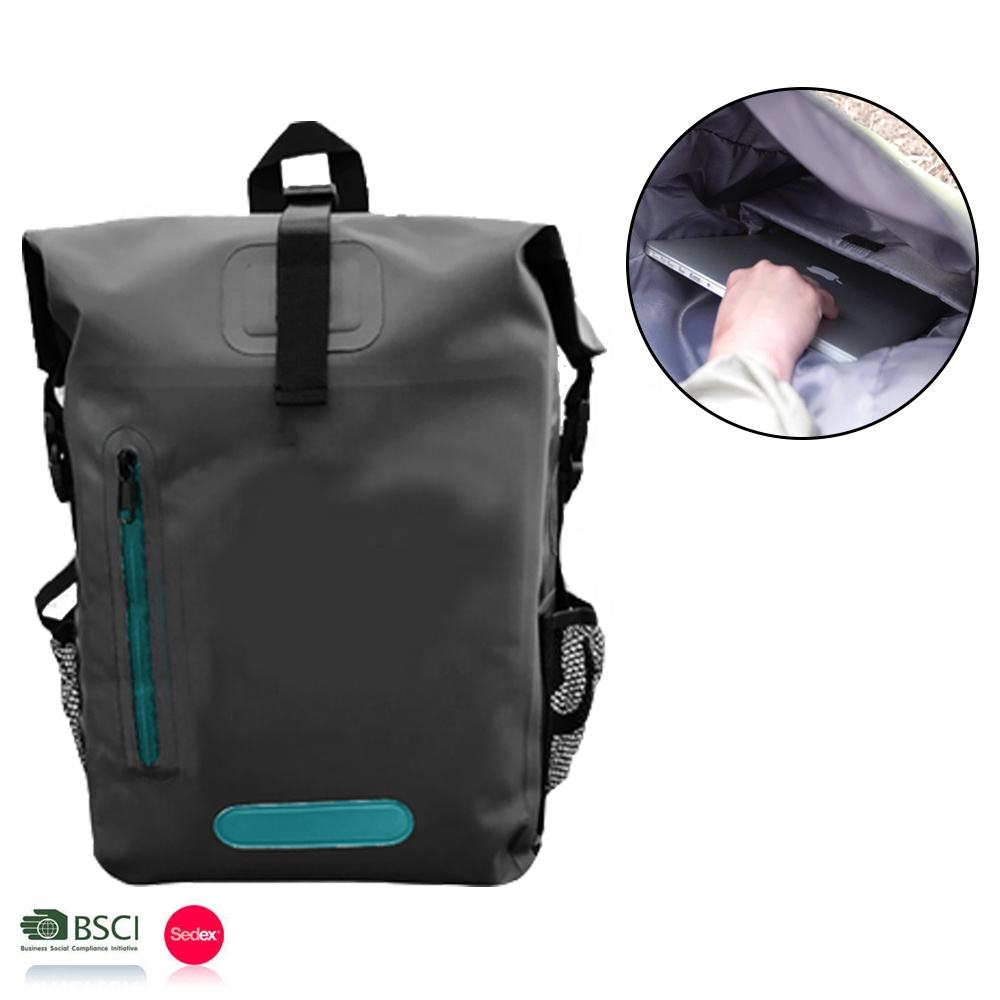 OEM Available Heavy Duty Roll Top PVC Tarpaulin 100% Waterproof Hiking Backpack Back Pack 25L with Zipper Pocket